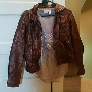 Leather jacket and sequence top